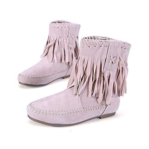 Warm Ladies Flat Shoes Boots Warm Beige Women's Frestepvie A Tassel Winter wWUxYTgqn
