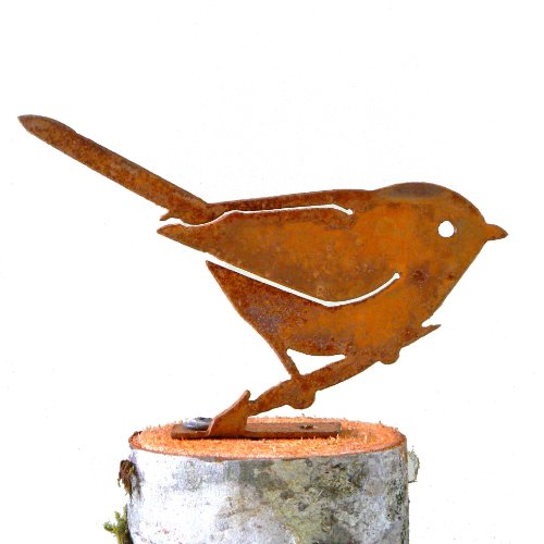 Elegant Garden Design Bushtit, Steel Silhouette with Rusty Patina