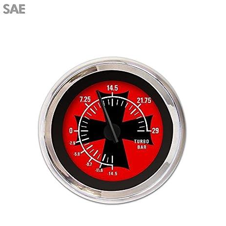 Turbo Gauge - SAE Iron Cross Red , Black Modern Needles, Chrome Trim Rings brass