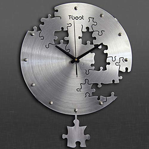 SMC wall clock Simple Creative Living Room Bedroom Modern Mute Puzzle Art Wall Charts (Color : Silver)