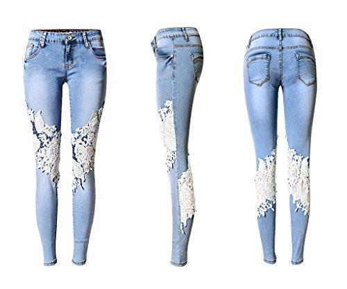 Bdawin Vaqueros Mujer Elásticos Encaje Floral Ahuecar Agujero Skinny Mezclilla Jeans