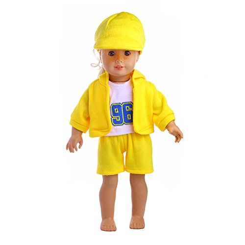 ZHUOTOP 4PCS Leisure Sports Doll Clothes Set Outside Playing Set for 18 inch Doll Yellow