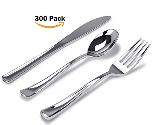 Process Stock (Stock Your Home 300 Piece Plastic Silverware Set, Looks Like Silver Cutlery - Solid, Durable, Heavy-duty Includes: 100 Forks, 100 Knives, 100 Spoons Perfect for Parties, Weddings & Catering Events)