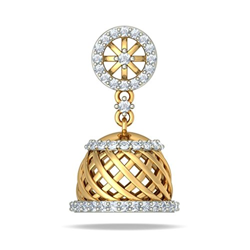 Or jaune 18 K 0,6 CT TW Round-cut-diamond (IJ | SI) Pendants d'oreilles