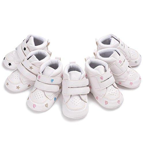 HUHU833 ❆Baby Girl Boys Herzförmige Stickerei High Cut Schuhe Sneaker Anti-Rutsch Soft Sole Kleinkind Gold