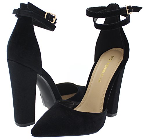 Wrap Around Ankle Strap (Shoe Republic Velvet D'Orsay Pump w/Wraparound Ankle Strap Vivia (Black 8))
