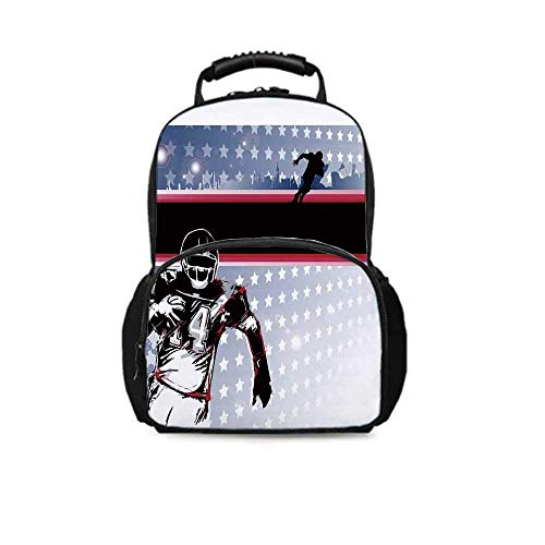 Americana Decor Leisure School Bag,Baseball American Football Player Running in the Field with Stars Pattern for School Travel,One_Size (Best Running Back In College Football 2019)