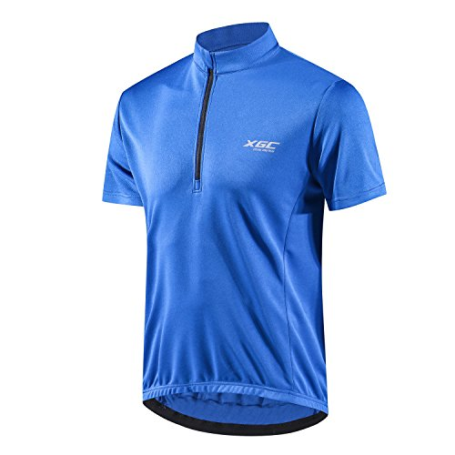 (XGC Men's Short Sleeve Cycling Jersey Bike Jerseys Cycle Biking Shirt with Quick Dry Breathable Fabric (Blue,)