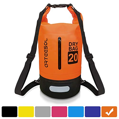 arteesol Dry Bag, Waterproof Dry Bag 5L/10L/20L/30L Backpack with Adjustable Shoulder Strap Perfect for Kayaking/Boating/Canoeing/Fishing/Rafting/Swimming/Camping/Snowboarding (5L, Orange)