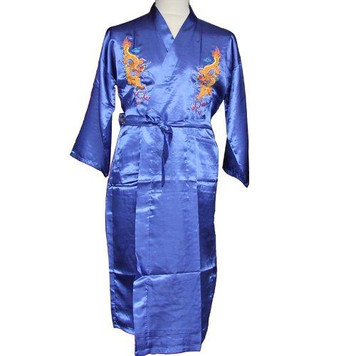 Black Sugar XL Kimono Long Homme Soie Traditionnel Bleu Japonais Motif Dragon Oriental Yukata Nippon avec Ceinture /Ét/é D/éguisement Cosplay 40//42