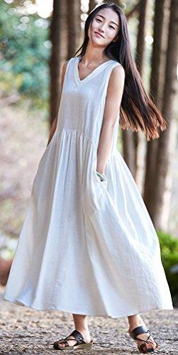Coton Sans Manches Mode Féminine Soojun Lin Longue Robe Blanche 1