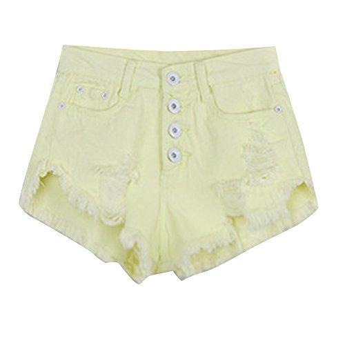Taille Pantalon Plage Hot Mini laamei Jeans Jaune Trou Haute Femmes Pantalons Courts Denim Dchir t Clair Shorts de xOwp0xBq