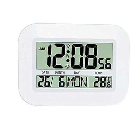 MOMO wozuiai Termómetro Digital Termómetro Interior Pantalla LCD Grande Luz de Fondo Termómetro de Alarma Sensor de Temperatura Interior Sensor Reloj de ...