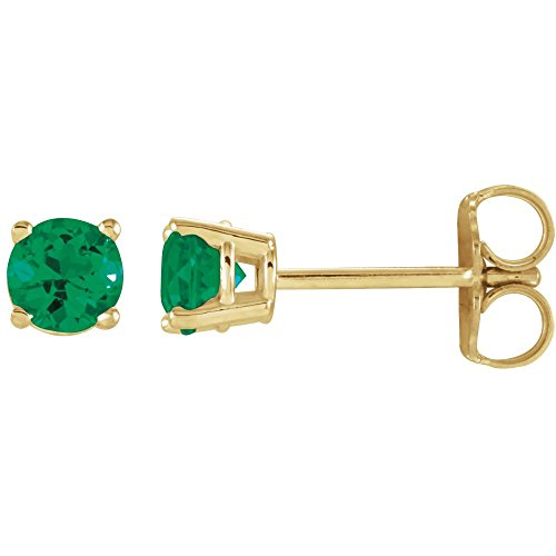 14k Yellow Gold 4mm Round Chatham Created Emerald (Chatham Created Emerald Earrings)