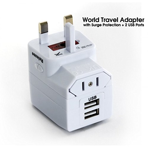 Universal Travel Adapter with 2 x USB Chargers, All in One, Suitable for more then 150 countries, Colour White, Mod. A01-01WB (US)