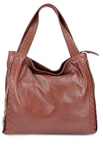 BELLI® ital. Nappa Leder Handtasche Shopper - Freie Farbwahl - 37x34x16 cm (B x H x T) Maronenbraun