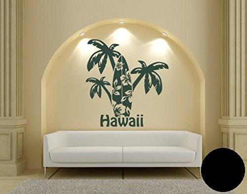Pared de Pared Tatuajes 1921 Hawaii de palmeras, plástico, negro ...