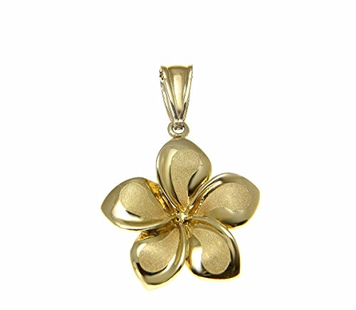 14K Solid yellow gold 17mm Hawaiian plumeria flower charm pendant