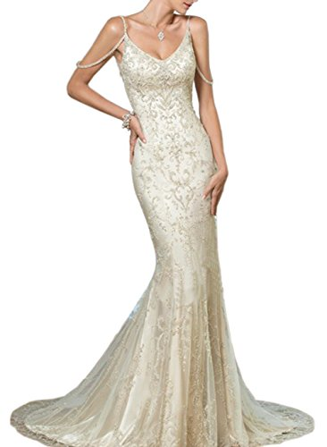 Sayadress Women's Backless Embroidery Long Mermaid Wedding Dress with Cold Shoulder Ivory US6 by Sayadress