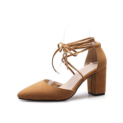 Peu Yellow Sandales Sangle Bouche Heels avec High Cheville Pure de épais Fait Color Femmes Profonde Fq6rTqE