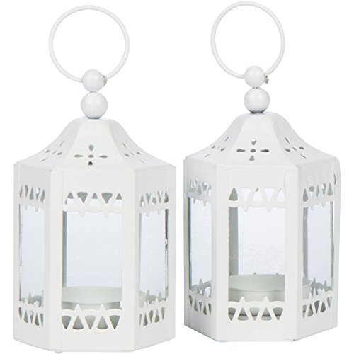 2 Mini White Tea Light Candle Lanterns - 2 1/2