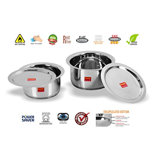 Sumeet 2 Pcs Stainless Steel Induction Bottom (Encapsulated Bottom) Induction & Gas Stove Friendly Container Set / Tope / Cookware Set With Lids Size No.10 & No.11 (1 Ltr & 1.25 Ltr)