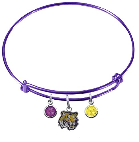CustomCharms LSU Tigers Purple Expandable Wire Charm Bracelet Bangle w/Team Color Crystals