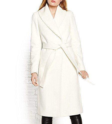 Hego Women's 2016 Winter White Turn-down Collar Long Slim Wool Coat H2978 (M, White)