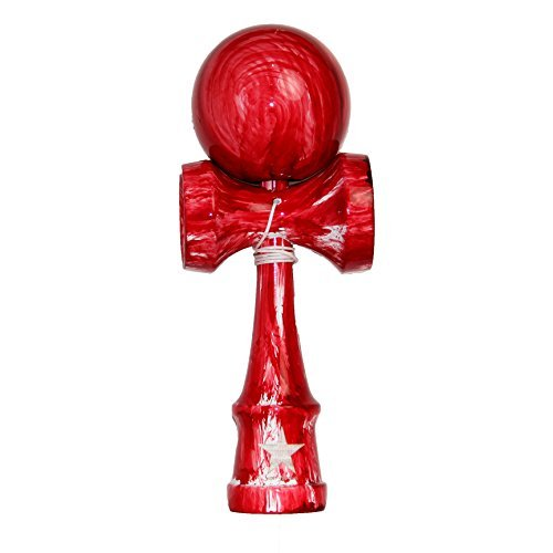 Red White Washed Shinny Super Kendama, Super Sticky, Japanese Wooden Toy, Free String, USA Seller