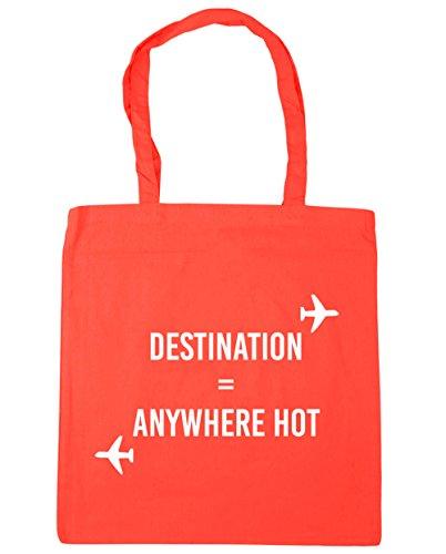 HippoWarehouse destino cualquier lugar caliente bolsa de la compra bolsa de playa 42cm x38cm, 10litros Coral