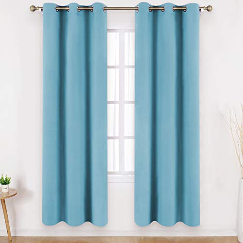 HOMEIDEAS Blackout Curtains 84 Inches Long Set of 2 Panels Teal Blue Room Darkening Curtains, Thermal Insulated Grommet Window Curtains for Kids Bedroom & Living Room, W42 X L84 Inches (Dark Teal Panels Curtain)