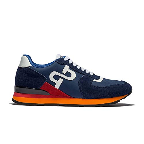 OPP Men's Fashion Lights Leather Sports Sneaker Lace-up Rubber Soft Sole Casual Shoes(10 D(M) US Blue)