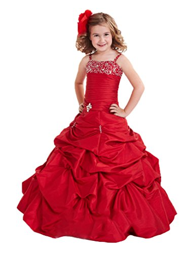 Taffeta Beading - Dexin Flower Girls' Ruched Taffeta Beading Lace Up Pageant Dresses 16 US Red