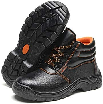 KMF Mens Work Safety Boots Steel Toe Puncture Proof Waterproof Footwear Industrial and Construction
