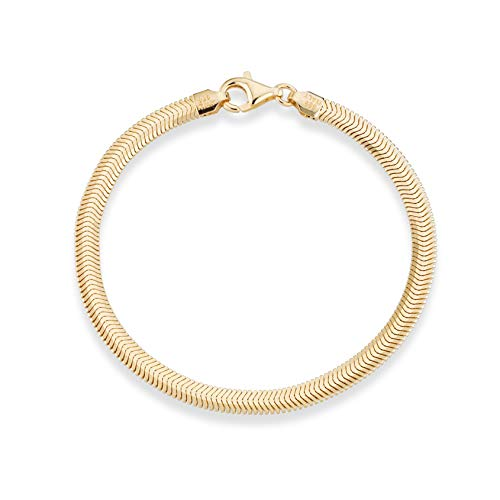 (MiaBella 18K Gold Over Sterling Silver Italian 4mm Solid Diamond-Cut Flat Snake Herringbone Chain Link Bracelet for Women Men, 7