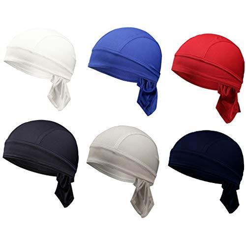 6 Pack Quick Dry Skull Cap Breathable Adjustable Beanie Cap Summer Moisture Wicking Helmet Liner