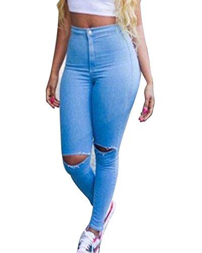 Donne Slim Scarni Matita Vita Blu Stretch Pantaloni Jeans Denim A Kasen Alta Strappati gBwCSq6qd