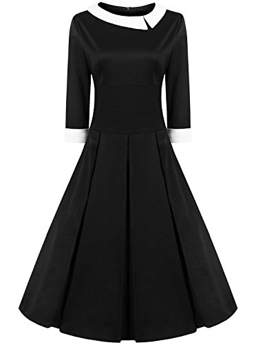 Jabey Women's Peter Pan Collar Full Circle Swing Dress (Medium, Black) (Black Peter Pan Collar Dress compare prices)
