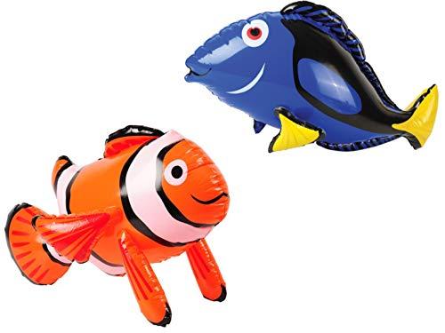 M&E - 2 Inflatable Fish Orange Clown Fish & Blue Tang - Party Favors Decorations - Pool Toys Aquarium Clownfish Decor INFLATES ()