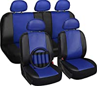 Motorup America 17 Piece Leather Seat Cover Set - Fits Select Vehicles Car Truck Van SUV - Blue & Black