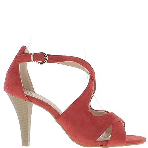 Rojo fin bridas finas de 8.5 cm aspecto gamuza tacón sandalias