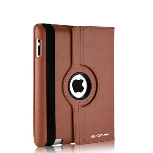 SANOXY 360 Degrees Rotating Stand PU Leather Case for iPad 2/3/4, iPad 2nd generation (iPad 2/3/4 BROWN)