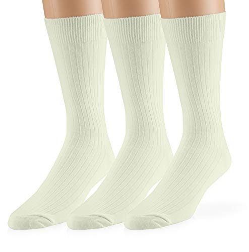 EMEM Apparel Men's Big and Tall King Size Casual Soft Ribbed Cotton Knit Classic Mid Calf Crew Dress Hosiery Socks 3-Pack Ivory 13-15