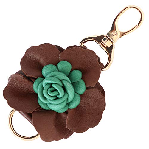 Genuine Leather Handmade Flower Charms | Pom Pom Keychain | for Tassel Bags Purse Backpack | Stainless Steel Key Ring (Coffee - Flower)