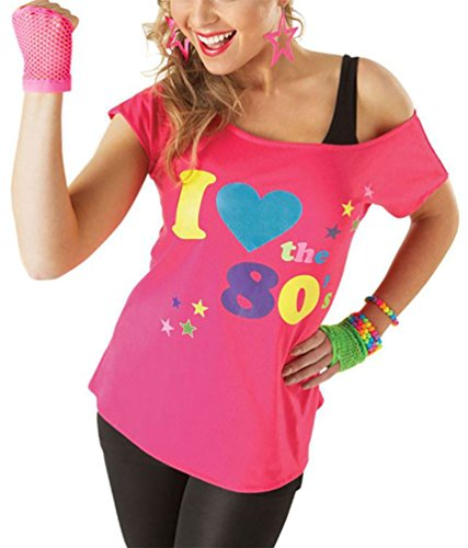 Womens I Love The 80S T Shirt     Pink I Love The 80S Tshirt  Us 12 14