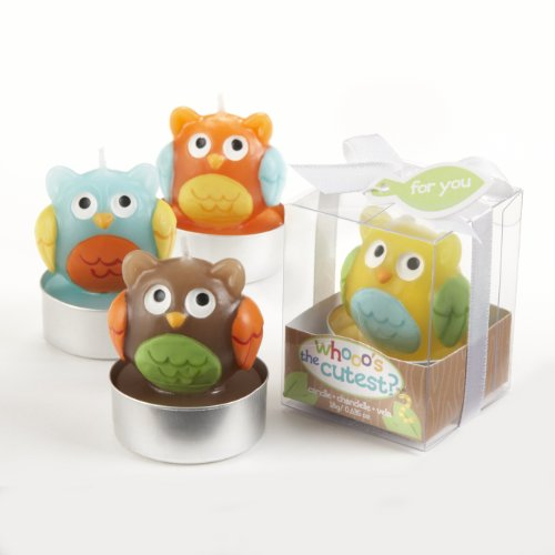 Kate Aspen Set of 4 Assorted Candle, Whooo's the Cutest Baby Owl -