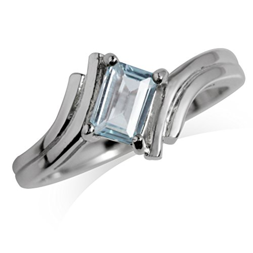 Genuine Blue Topaz White Gold Plated 925 Sterling Silver Bypass (White Topaz Bypass Ring)