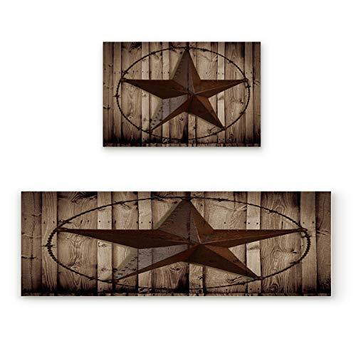 (Licans Kitchen Mat Set, 2 Piece Bath Rugs Washable Soft Non-Slip Rubber Back Floor Mats Doormat Bathroom Runner,Western Texas Star)