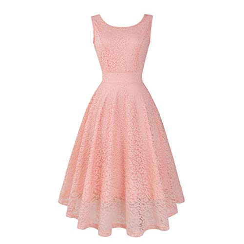 Pengy Women's 90s Vintage Lace Dress Solid Spring Vintage Country Rock Cocktail Dress Lace Bridesmaid Party Dress for Lady