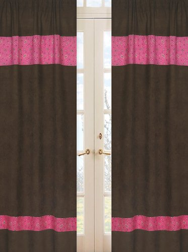Western Cowgirl Window Treatment Panels - Bandana Print and Chocolate Microsuede - Set of 2